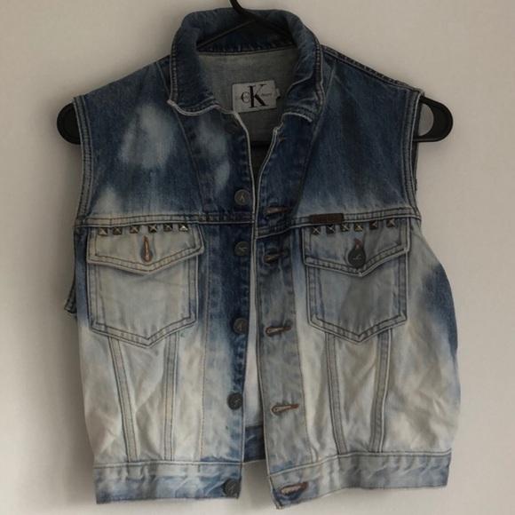 💙Calvin Klein customized jean studded jean jacket
